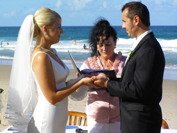 Angela Holds David's Hands for the Blessing of the Hands on Palm Beach on the Gold Coast in glorious Queensland.