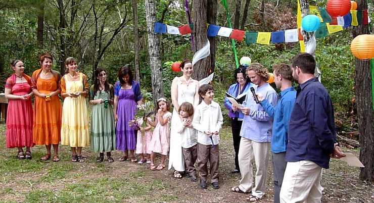 Mary & Brendan's Wedding at their home on Macleay Island Redlands off Brisbane. Mary & Brendan had a 7 Chakra Handfasting and the Wedding Party the Bride & Groom and Marry Me Marilyn each represented a chakra.