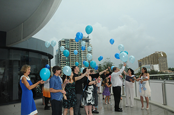 Marry Me Marilyn included a balloon release for Jacobs Naming Ceremony at Waves Resort Broadbeach