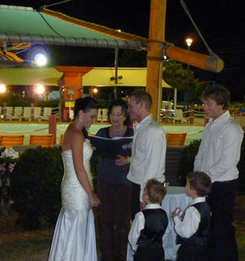Kate & Ben had a Family Unity Cerremony for their sons as part of their Wedding Ceremony at WhiteWater World by the wave pool in Dreamworld.