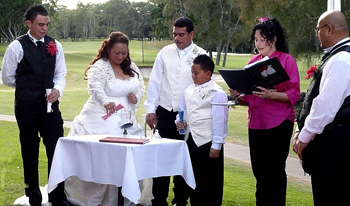 Margaret & Ronald chose a Unity Sand Ceremony to celebrate their Wedding with their children Devan and Jonathon on the Ladies 10th Tee at the Coolangatta & Tweed Heads Golf Course Tweed Heads in New South Wales