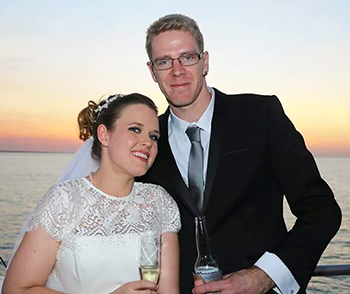 Marry Me Marilyn married Jack and Philadelphia on the top deck of the Charles Darwin Catamaran on Darwin Harbour Darwin NT