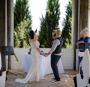 Marry Me Marilyn Trelise & Jamie Viking Handfasting Wedding The Arbour Sirromet Winery Mount Cotton