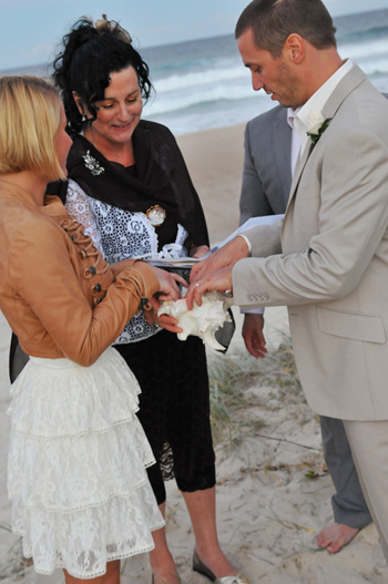 Martijn & Merit from The Netherlands were married on Main Beach on the Gold Coast as the sun went down. Marilyn performed a Shell Ceremony as part of their Wedding Ceremony