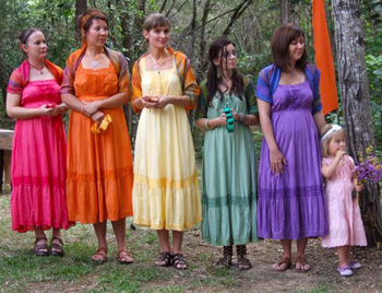 Each Bridesmaid wore a colour that represented a Chakra of the Body at Mary & Brendan's Wedding at their home on Macleay Island Redlands off Brisbane with Marry Me Marilyn