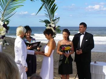 Penny & Angela Exchange Rings at their Commitment Ceremony at Broadbeach on the sand at the Gold Coast