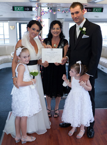 Rebecca & Patrick Imagine Cruises Marina Mirage Main Beach Gold Coast had a Love Story and a Family Ceremony as part of their Wedding Ceremony