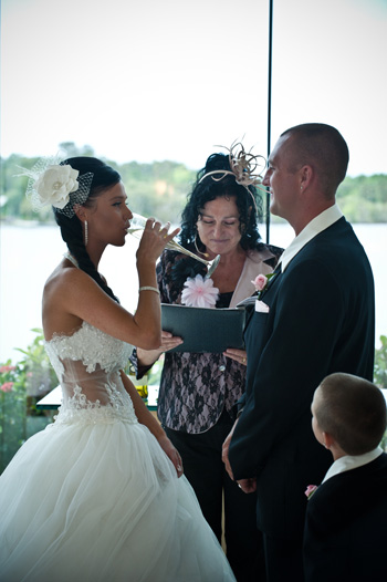 Rebecca & Lee shared a cup of wine during a traditional Cup Ceremony they chose to complement their formal wedding
