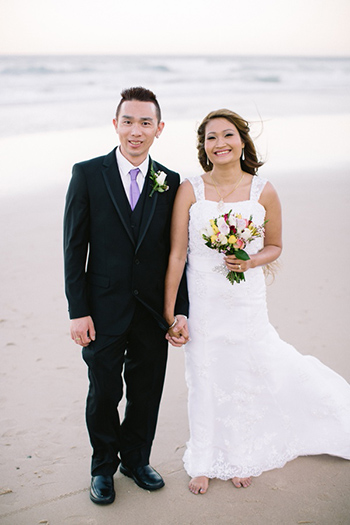 Photo  on Surfers Paradise Beach Banthip & Sai from Adelaide married at The Lakeside Hut Gold Coast Botanic Gardens Benowa with Marry Me Marilyn