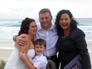 A Scottish Handfasting was perfect for Sharon & Ronnie's Renewal of Vows celebrating their tenth anniversary at Main Beach with Marry Me Marilyn Celebrant