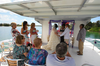 Teegan & Lucas married on a Houseboat on the Tweed River at the Tweed Marina