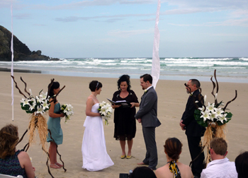 Tegan & Ben had their Wedding with Marilyn Marry Me Marilyn on Tallow's Beach in beautiful & spiritual Byron Bay & had their reception at Harvest